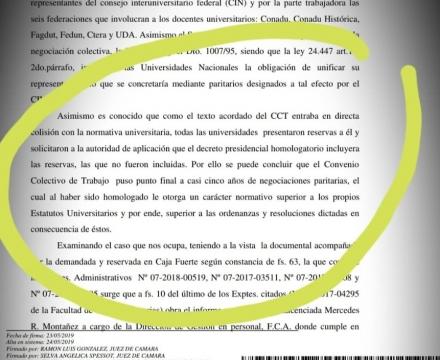 Fallo judicial que reconoce el valor del CCT
